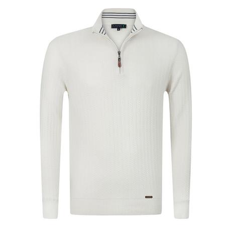 Golfer Textured Half-Zip Pullover // Ecru (S)