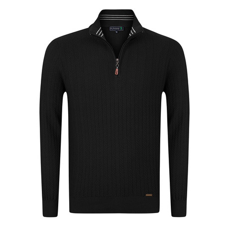 Golfer Textured Half-Zip Pullover // Black (S)
