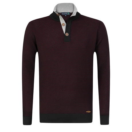 Towy Buttoned Pullover // Black + Bordeaux (S)