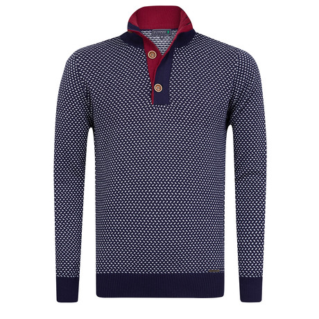 Peoria Buttoned Collar Pullover // Navy + Ecru (S)