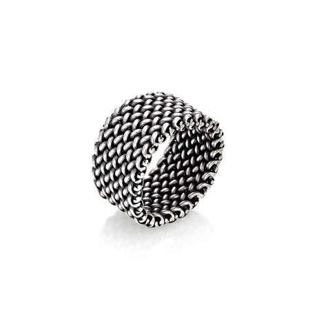 Made In Italy Sterling Silver Mesh Ring // Silver (Size 7)