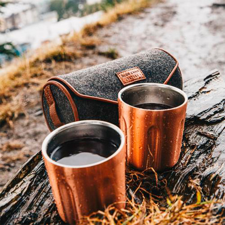 Firelight Tumbler 2-Pack + Hard Case (Rose Gold + Charcoal Wool Hard Case)