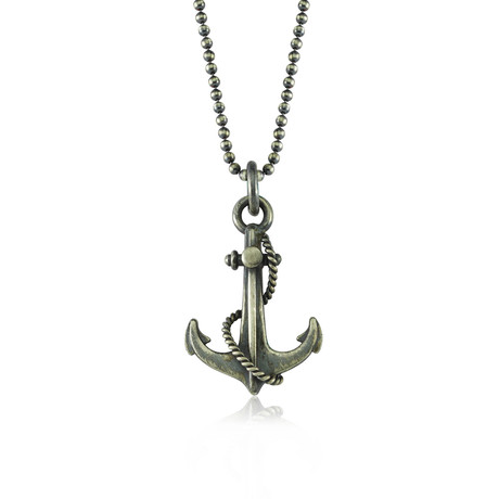 "Anchor + Rope Design Necklace // Black Silver (22"")"