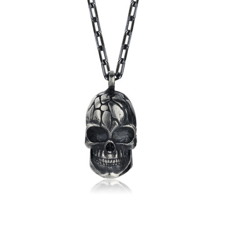 "Stone Head Necklace // Silver (22"")"