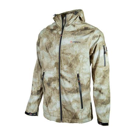 Camo Hooded Zip Jacket // Light Brown (XS)