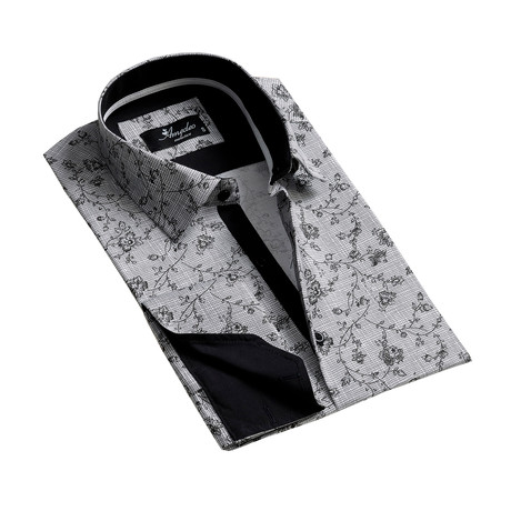 Reversible Cuff French Cuff Dress Shirt // Gray + Black (S)