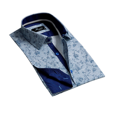 Reversible Cuff French Cuff Dress Shirt // Light Blue + Navy Blue (S)