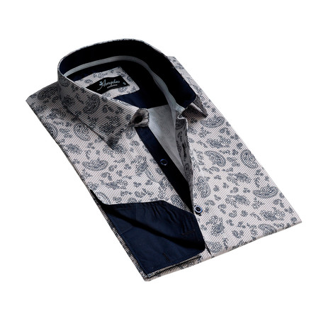 Reversible Cuff French Cuff Dress Shirt // Light Gray Floral (S)
