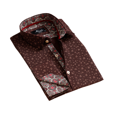 Amedeo Exclusive // Reversible Cuff French Cuff Dress Shirt // Brown (S)