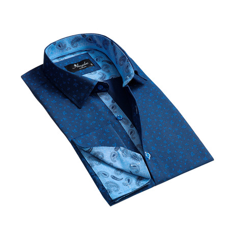 Reversible Cuff French Cuff Dress Shirt // Blue Floral (S)