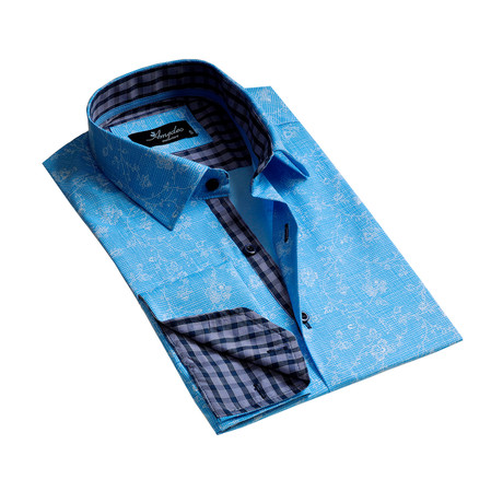 Reversible Cuff French Cuff Dress Shirt // Light Blue Floral (S)