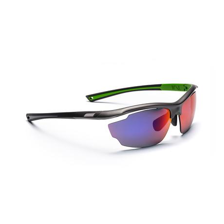 Men's VOLT 03 Sunglasses // Gray + Green + Red Mirror