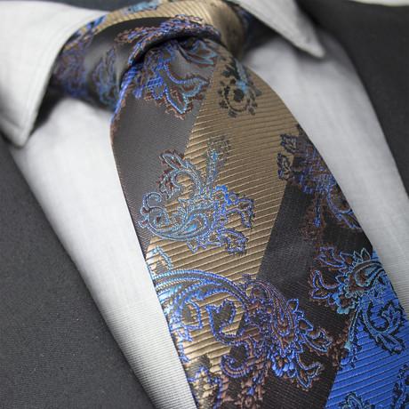 Samson Handcrafted Silk Tie // Blue + Brown