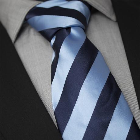 Amans Handcrafted Silk Tie // Light Blue + Navy