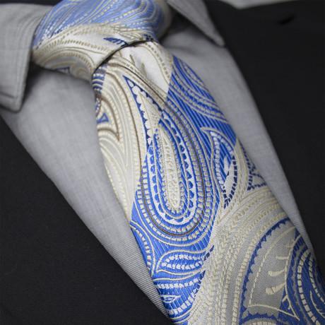 Leon Handcrafted Silk Tie // Tan + Blue