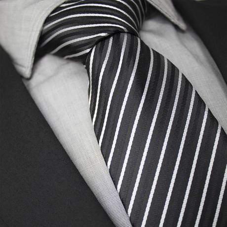 Zephir Handcrafted Silk Tie // Black + White Stripe