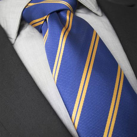 Lou Handcrafted Silk Tie // Blue + Orange