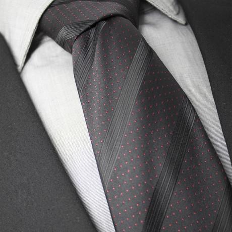 Jason Handcrafted Silk Tie // Black + Red