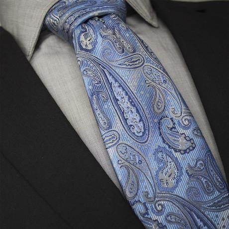 Natan Handcrafted Silk Tie // Light Blue