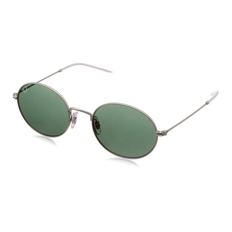 Ray-Ban // RB3594 Beat Oval Sunglasses // Silver + Green
