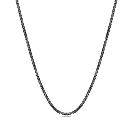 "Solid Sterling Silver Round Box Chain Necklace // 2.5mm // Black (20"")"