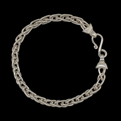 Solid Sterling Silver Interlocking Oval Chain Bracelet // 6mm