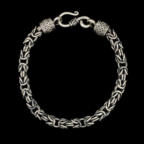 Solid Sterling Silver Oxidized Byzantine Bracelet // 5.5mm