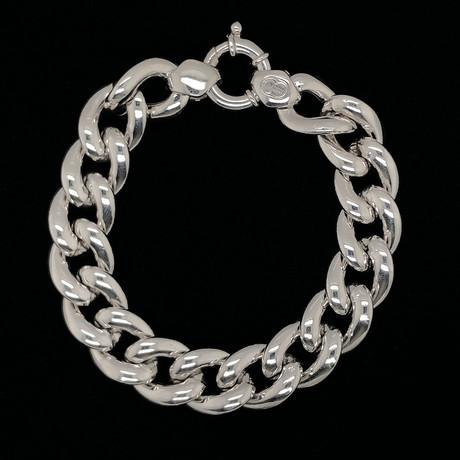 Solid Sterling Silver Cuban Chain Bracelet // 14mm