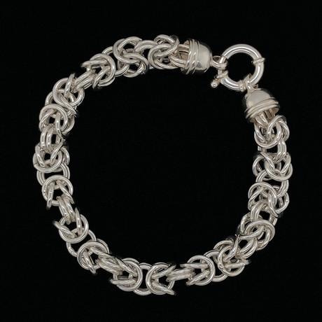 Solid Sterling Silver Open Byzantine Chain Bracelet // 9mm
