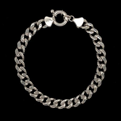 Solid Sterling Silver Cuban Chain Bracelet // 7.5mm