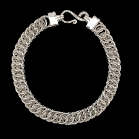 Solid Sterling Silver Tight Double Curb Chain Bracelet // 8.5mm