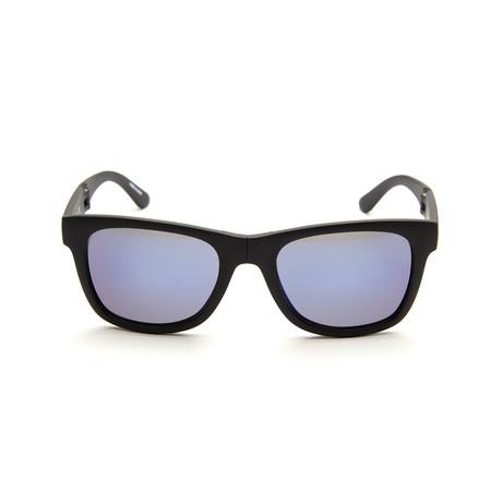 Foldable Sunglasses // Matte Black + Blue Mirror