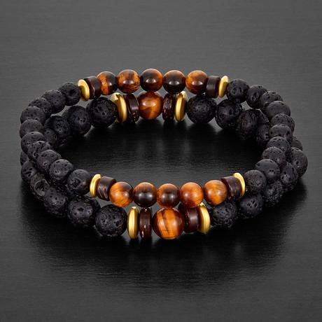 Tiger's Eye + Lava Stone + Hematite Beaded Bracelet (Brown + Black + Gold)