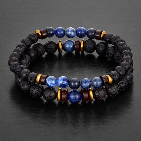 Sodalite + Lava Stone + Hematite Beaded Bracelet // Blue + Black + Gold