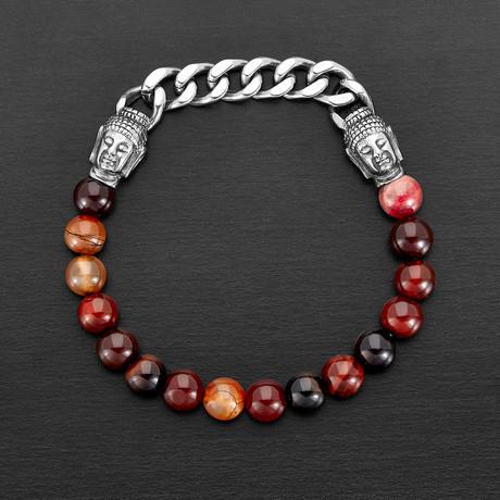 Agate + Buddha Bead Stretch Bracelet (Moss Green + Silver)