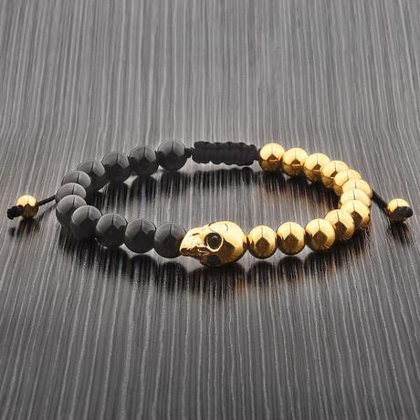 Onyx + Gold Plated Skull Beaded Bracelet // Black + Gold