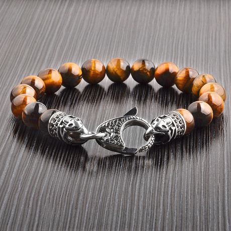 Antiqued Stainless Steel + Beaded Bracelet (Tiger's Eye)