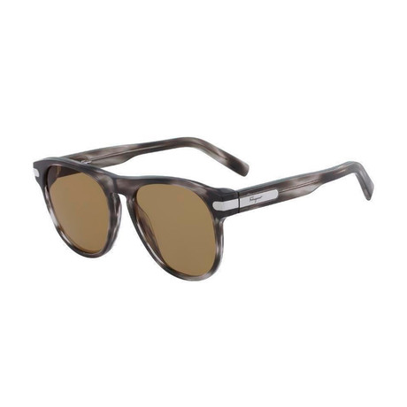 Salvatore Ferragamo // Men's Classic Sunglasses // Striped Gray + Brown