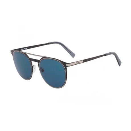Salvatore Ferragamo // Men's Modern Aviator Sunglasses // Matte Black + Blue