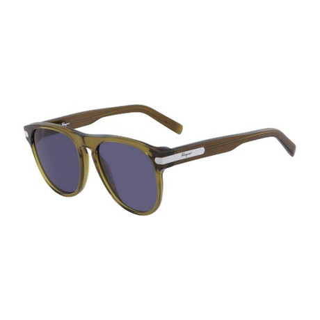 Salvatore Ferragamo // Men's Classic Sunglasses // Khaki + Blue