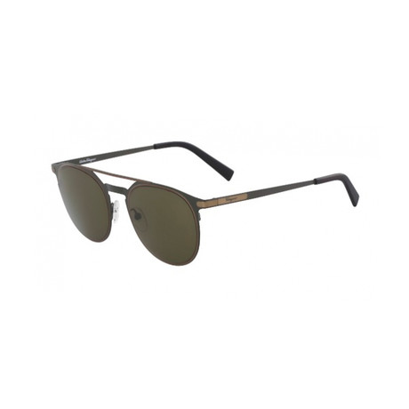 Salvatore Ferragamo // Men's Modern Aviator Sunglasses // Matte Olive + Green