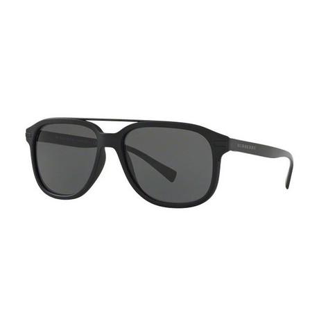 Burberry // Men's Top Bar Acetate Sunglasses // Matte Black + Gray