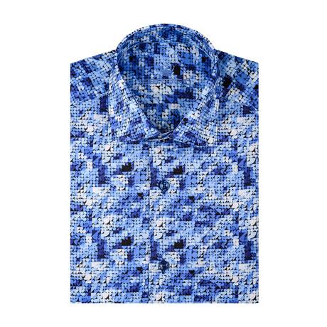 Geometric Poplin Print Short Sleeve Shirt // Navy Blue (S)