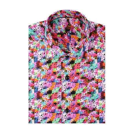 Geometric Poplin Print Short Sleeve Shirt // Multicolor (S)