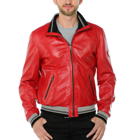 Gus Reversible Leather Jacket // Red (Euro: 46)