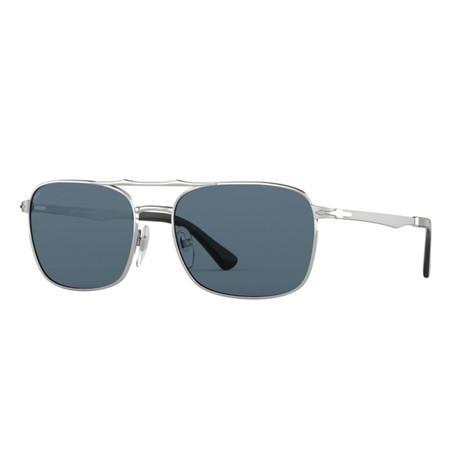 Men's Rectangle Navigator Sunglasses // Silver + Green