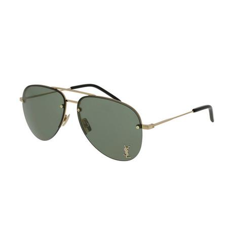 Saint Laurent // Unisex SL11M Pilot Aviator Sunglasses // Gold