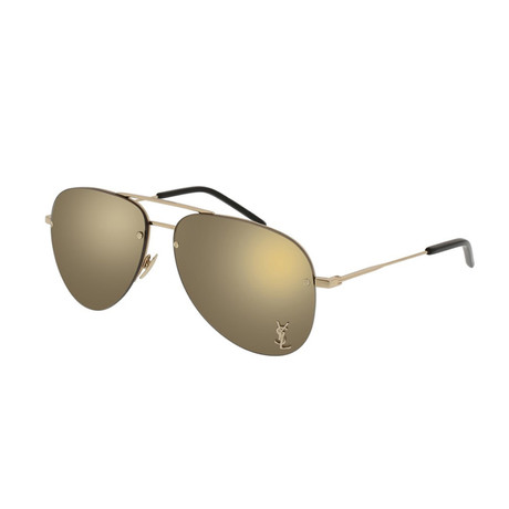 Saint Laurent // Unisex SL11M Pilot Aviator Sunglasses // Gold II
