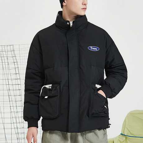 Nothing Down High Collar Down Jacket // Black (S)