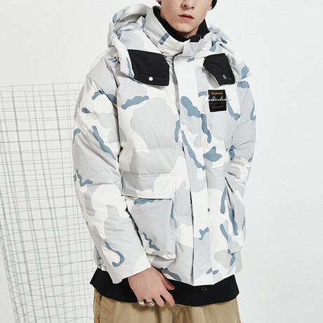 Commander High Neck Hooded Down Jacket // Camouflage (S)